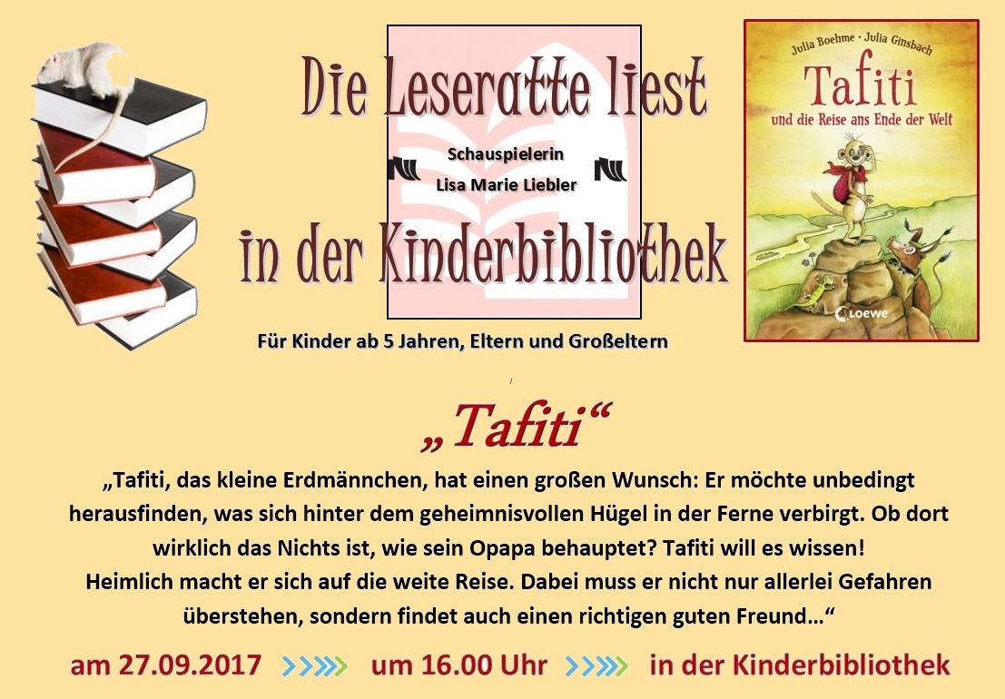 Logo für Veranstaltung Die Leseratte liest Tafiti